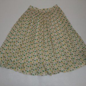 DownEast Cream Floral A-Line Skirt